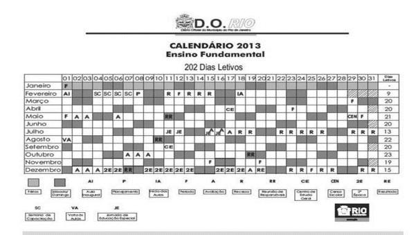 Calendário da Prefeitura de 2013